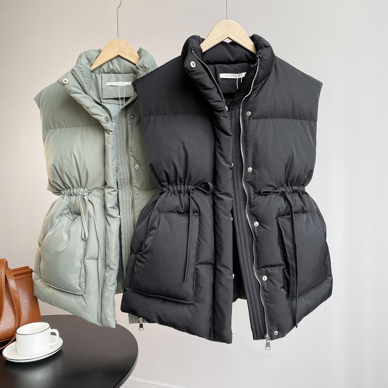 سترة نسائية متوسطة الطول برباط أخضر ، ملابس خارجية كورية ، سترة ، خريف/شتاء 2020