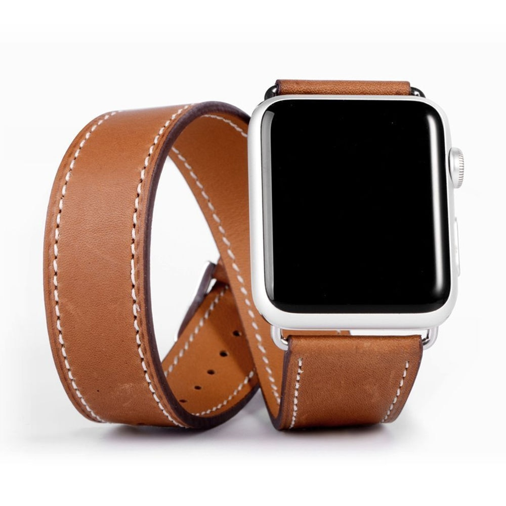 leather loop strap for apple watch 5 band 44mm 40mm iwatch band 42mm 38mm bracelet genuine leather watchband series 6 5 4 3 2 se Double Tour Strap for Apple watch band 44mm/40mm 42mm/38mm Genuine Leather watchband belt bracelet iWatch series 5 4 3 se 6 band