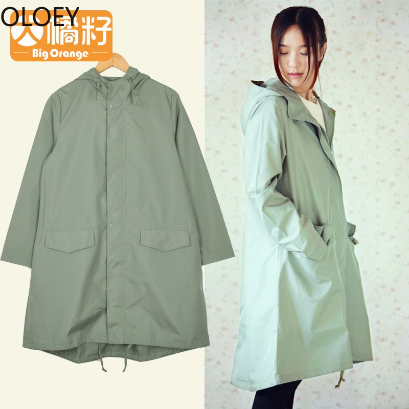 Green Long Raincoat Women Girl Rain Jacket Poncho Ultra Women's Adult Rain Suit Fashion Jacket for Women Raincoat Waterproof enlarge