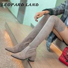 LEOPRAD LAND 5cm Heels 2019 Flexible Shoes Women Sexy Knee  Boot Women Long Boots Square Heels  Style Knee Boots HYGC-5818
