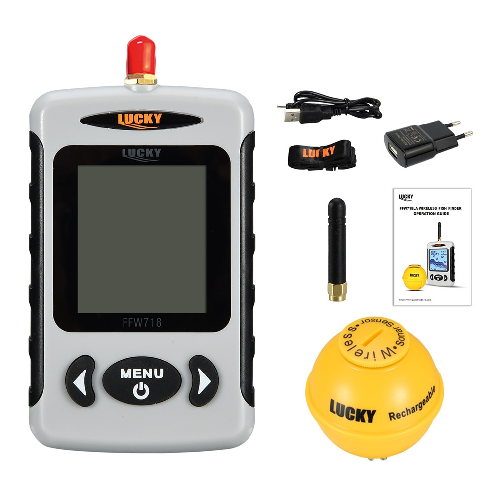Wireless Lucky Finder Portable FFW718& Sounder Alarm FFW718LA Depth Ocean Fish Sonar River 45M/135FT Lake Wireless Portable Fish enlarge