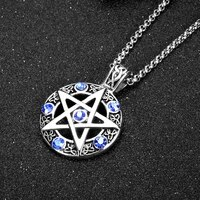 five pointed star round hollow pendant mens necklace new fashion blue zircon inlaid accessories accessories party jewelry