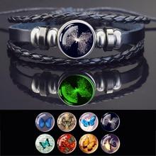 Esspoc Anime Butterfly Bracelet Steampunk Handmade Black Leather Bangles Bacelets for Women Men Jewe