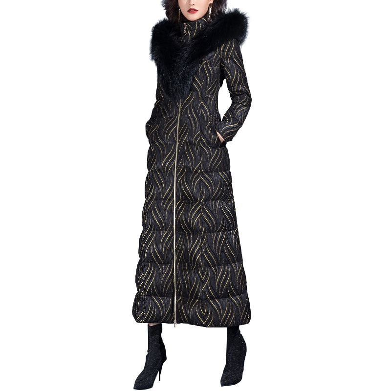 New Casual Luxury Big Fur Collar Hooded Long Warm Down Parka for Women