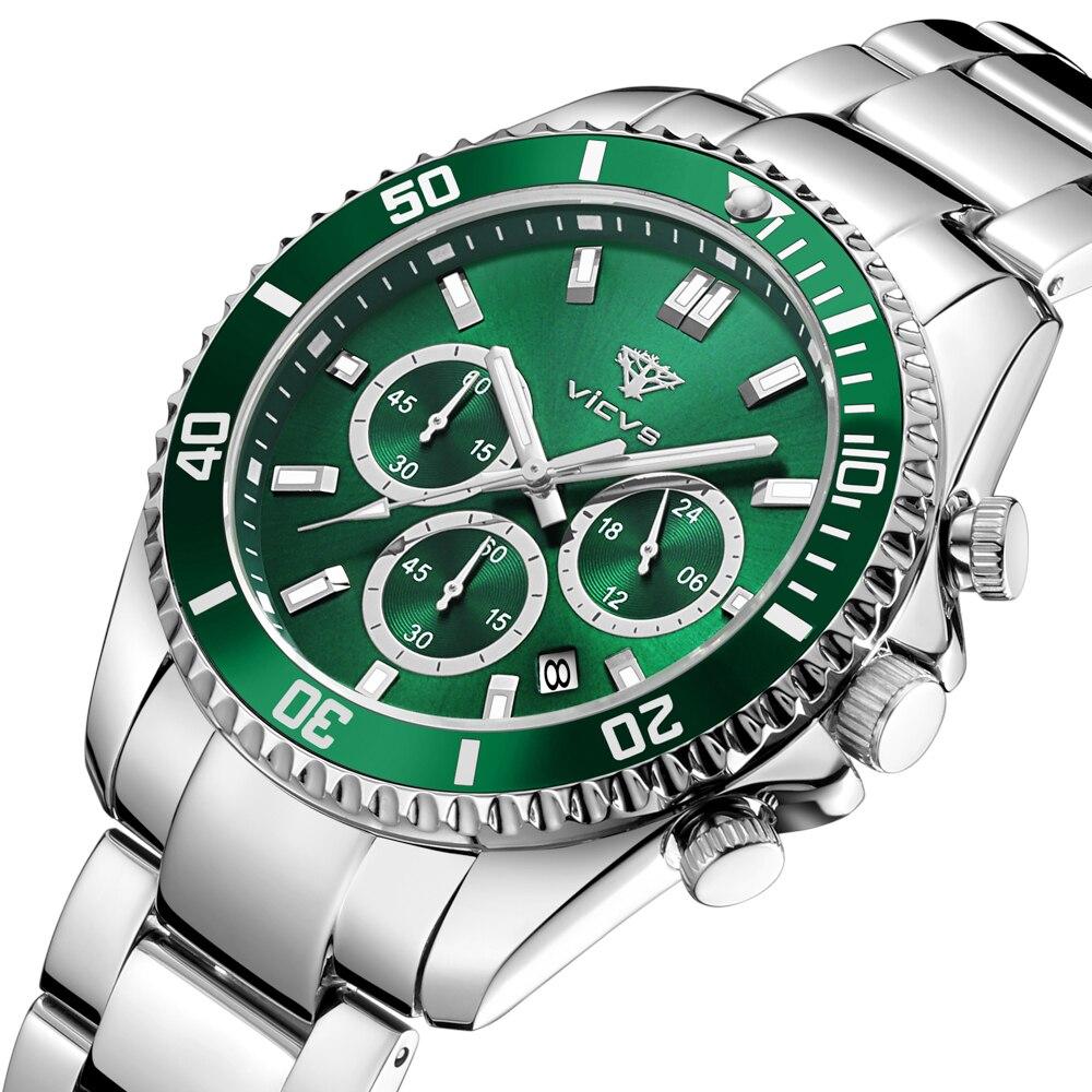 Vicvs العلامة التجارية ساعة مخصصة 3 ATM مقاوم للماء الفولاذ المقاوم للصدأ الفاخرة كوارتز ساعة الموضة الرجال