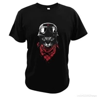 funny cat with helmet and scarf t shirt fahion cool animals lovers t shirt breathable hipster tshirt