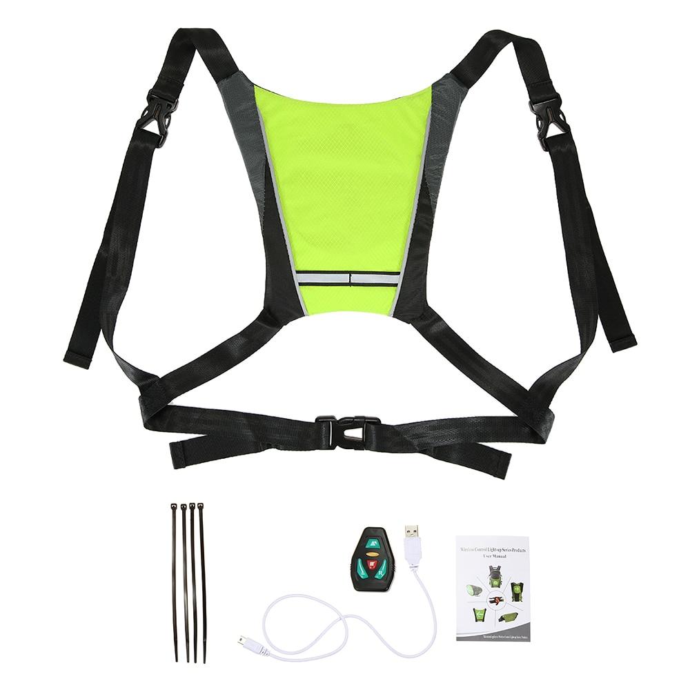 Mochila reflectante recargable por USB con luz LED de intermitente, bolsa de seguridad deportiva para exteriores, equipo para ciclismo, correr y caminar