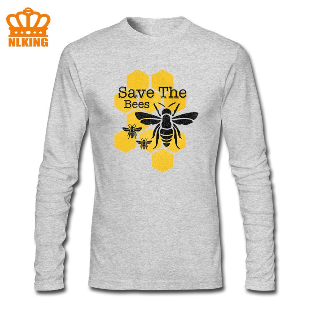 Honeycomb Save The Bees Camiseta de manga larga para hombre Tops rojos prendas de corredor de carreras Funky otoño algodón camiseta Hip Hop Tees único hombre