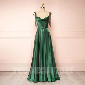 YQLNNE Sexy Emerald Green Long Prom Dresses Straps Silk Satin Backless Court Train Formal Party Dress For Women