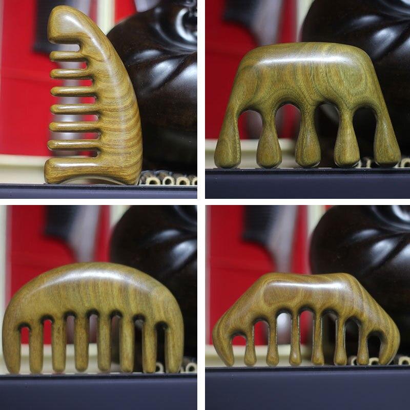 Novo pente de massagem meridiano de cinco dentes verde sândalo cuidados de saúde pente grande-dente massagem tratamento de cabeça de madeira