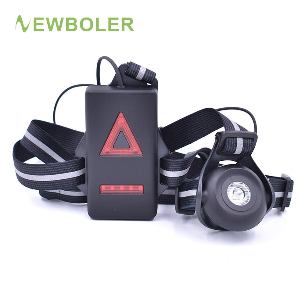 Luz de carrera con carga USB, linterna LED de noche para bicicleta, lámpara de pecho para exteriores, deporte, trote, luces de advertencia de seguridad en ciclismo