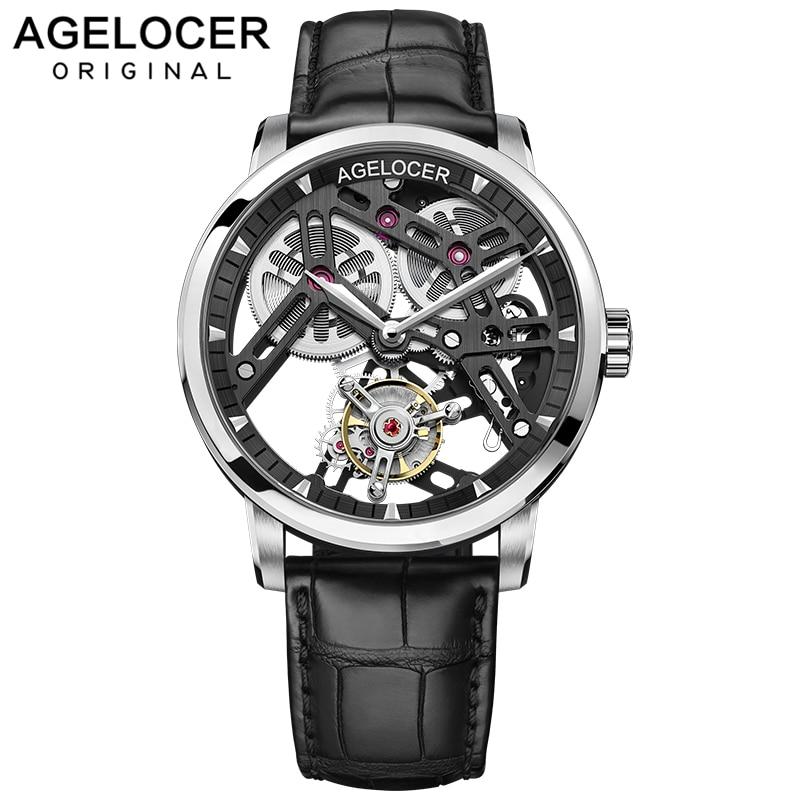 AGELOCER New Original Tourbillon Watch Men Power Reserve 80 Top Brand Luxury Skeleton Sapphire Clock Men Relogio Masculino