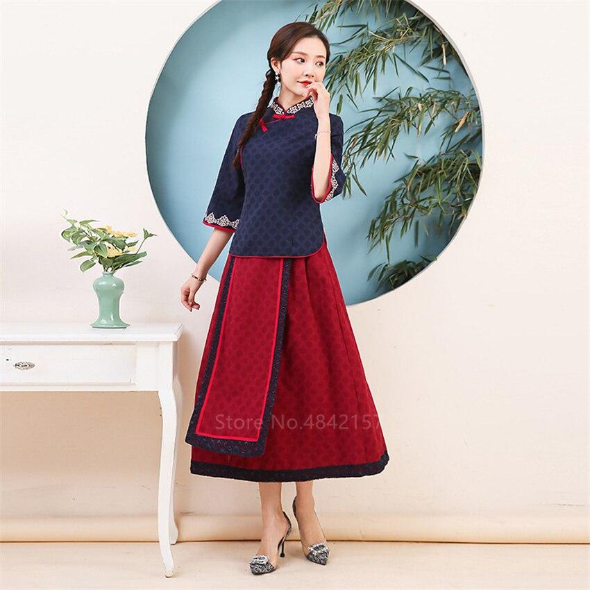 Novedad en ropa tradicional china, Cheongsam para mujer, Conjunto elegante informal de algodón para mujer, traje Tang bordado elegante, Top falda, Qipao