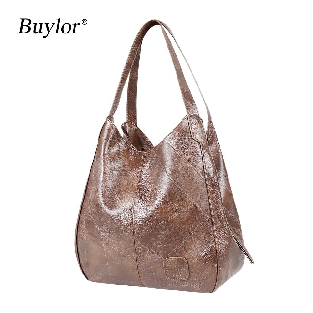 Buylor Women's Handbags Vintage Luxury Leather Shoulder Bag Designers Large Bag Modern Fashion Brand Female