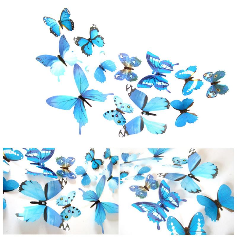 12pcs Wall Stickers PVC Simulation Insect Wall Decals Waterproof Wallpapers for Home Decoration
