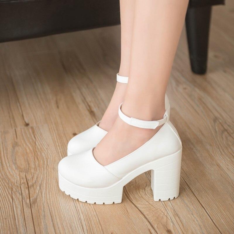 new spring autumn casual high-heeled shoes sexy ruslana korshunova thick heels platform pumps Black White ladies shoes fgb67