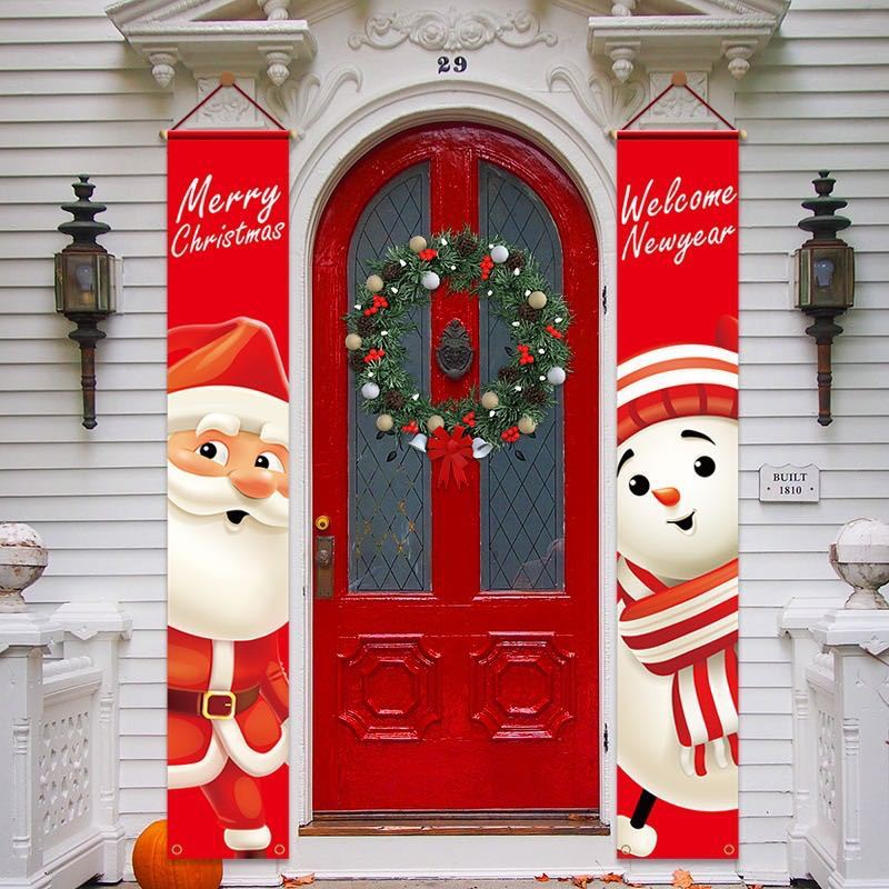 Merry Christmas Door Decor Banner Oxford Cloth Xmas Party Christmas Decorations Home 2021 Navidad Xmas Ornaments New Year 2022