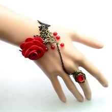 Steampunk Vampire noir dentelle Rose Bracelet rétro gothique papillon Bracelet femme gothique rouge Rose pendentif réglable Bracelet