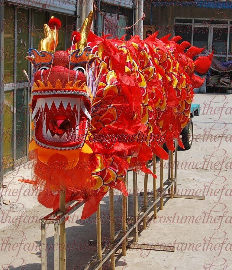 14m 8 الكبار طول حجم 4 الحرير طباعة النسيج التنين الرقص موكب زخرفة التنين الصينية الشعبية مهرجان هالوين التميمة زي
