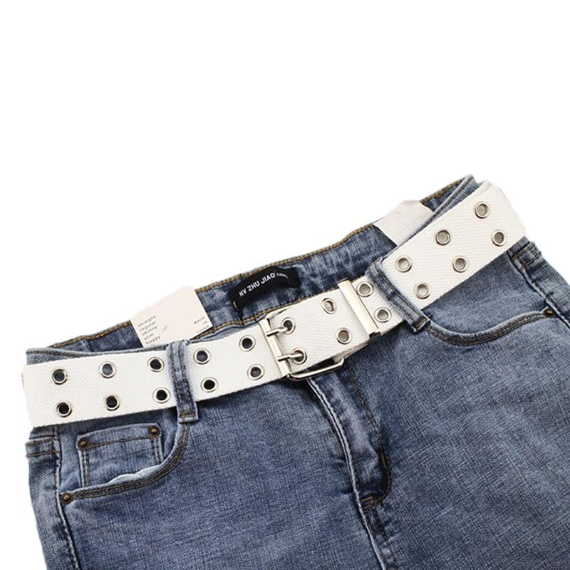 Mujer hombre cinturones correa de cintura Harajuku lona ancha Web doble ojal agujero hebilla cinturón para Mujeres Hombres Jeans