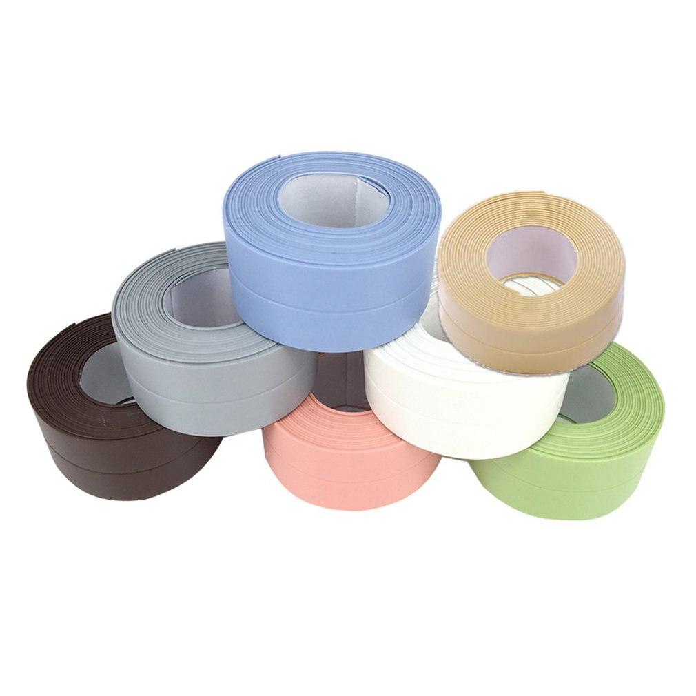 Autoadhesivo impermeable a prueba de moho costura selladora tira PVC pegatina baño pared esquina línea fregadero pegatinas para uso doméstico