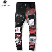 Aolamegs jean hommes rouge écossais Plaid impression collège Style Denim fermeture éclair décorations Cool Patch décontracté Cargo jean Streetwear hommes