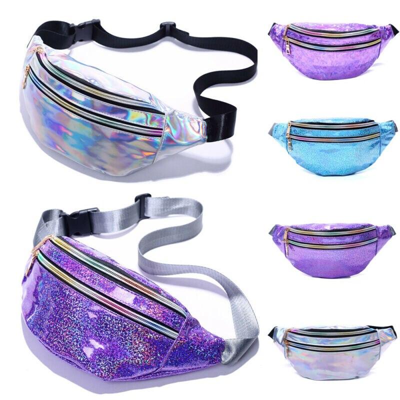 Waist Bags Women Waist Fanny Pack Laser Holiday Mini Bum Travel female banana Belt Bag Wallet Bag Leg Holographic Waist Packs