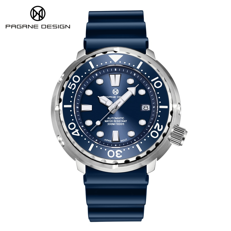 PAGRNE DESIGN Men's Watch Diver 300M Waterproof Mechanical Watches Ceramic Ring Sapphire Automatic Wrist Watch Relogio Masculino