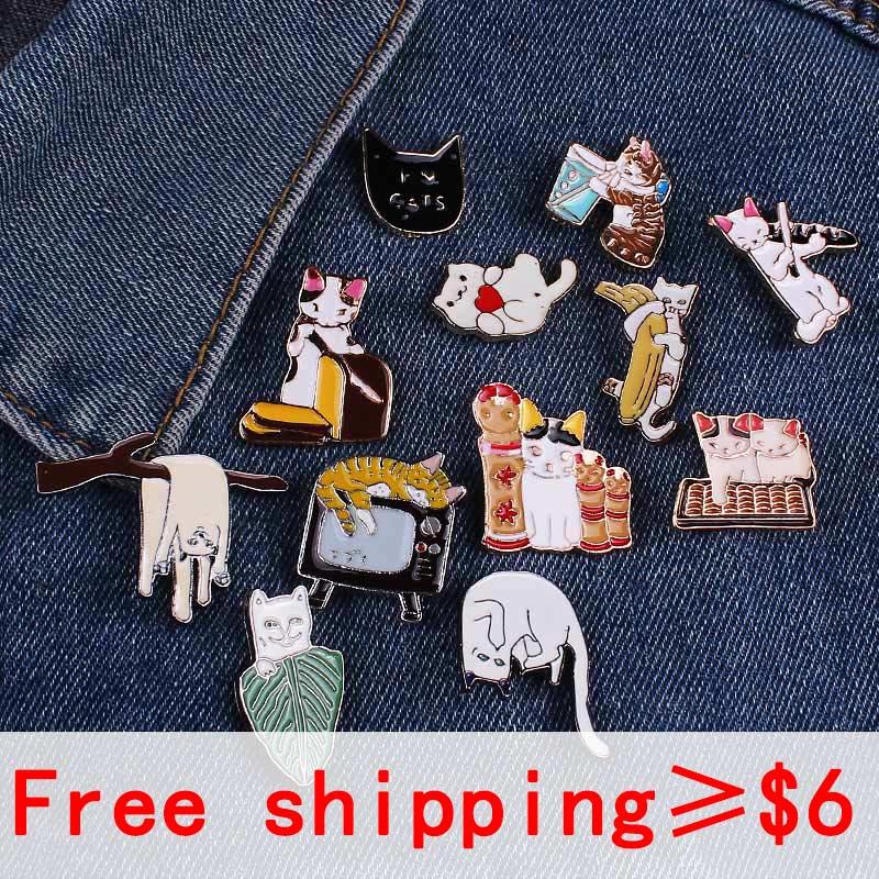 Alfileres con insignia de la serie de gatos con estilo para ropa, mochila con bonitos dibujos, insignias de Metal en la ropa, broche de solapa, mochila distintiva para regalo