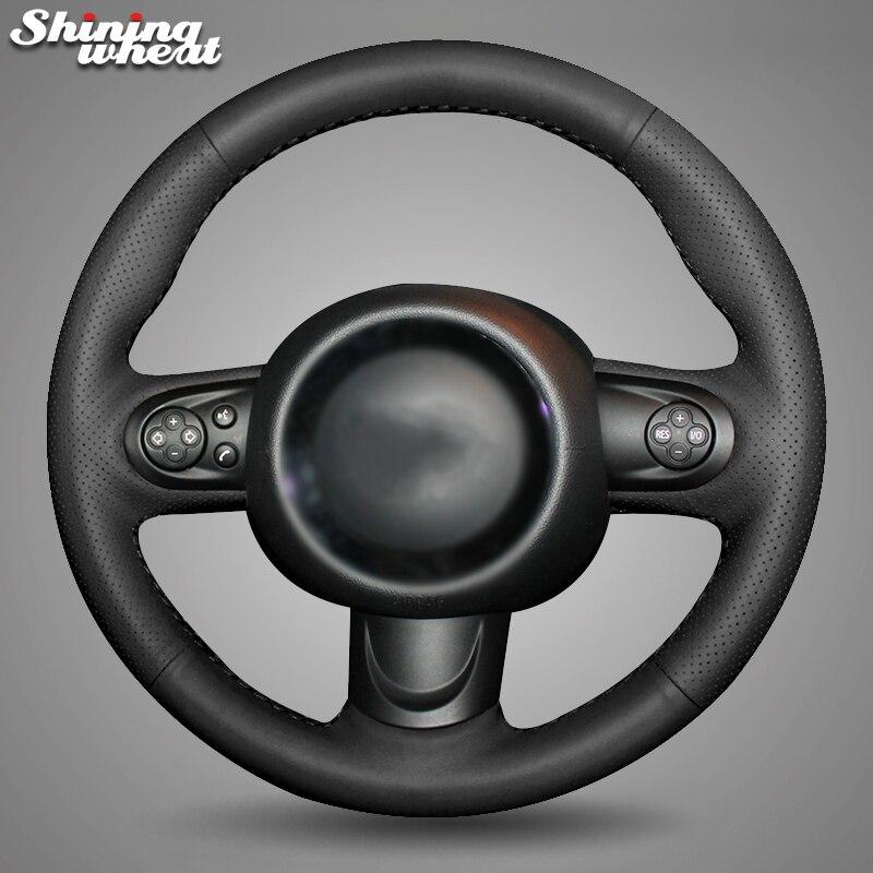 Чехол рулевого колеса из черной искусственной кожи для мини-купе