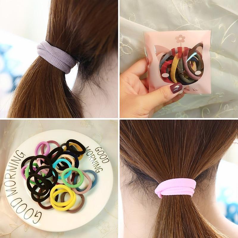 10PC Sweet Candy Color Circle Female Ponytail Elastic Hair Bands Fashion Girls High Elastic Women's Hair Accessories HeadWear