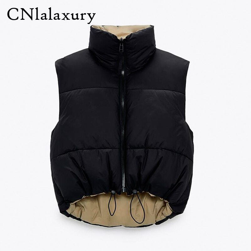2021 Spring Black Cropped Vest Coat Women Fashion Warm Sleeveless Parkas High Collar Waistcoat Female Casual Outerwear Chic Top