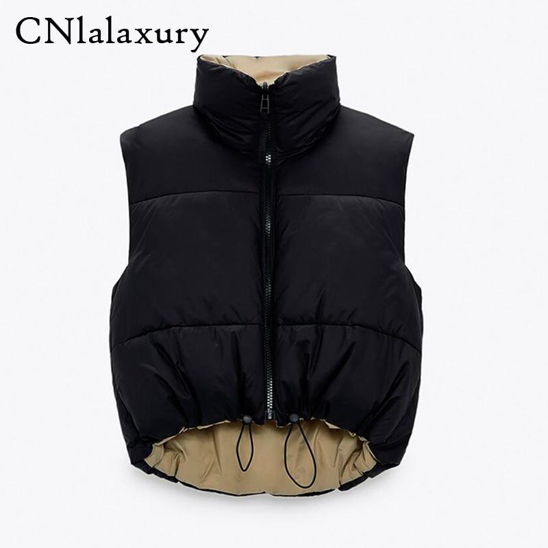 2021 Spring Black Cropped Vest Coat Women Fashion Warm Sleeveless Parkas High Collar Waistcoat Femal