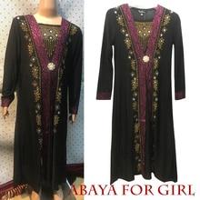 1 pièce Dubai enfants Abaya moyen-orient Robe Ramadan vêtements diamant et broderie caftan Jibab islamique Robe musulmane pour bébé fille