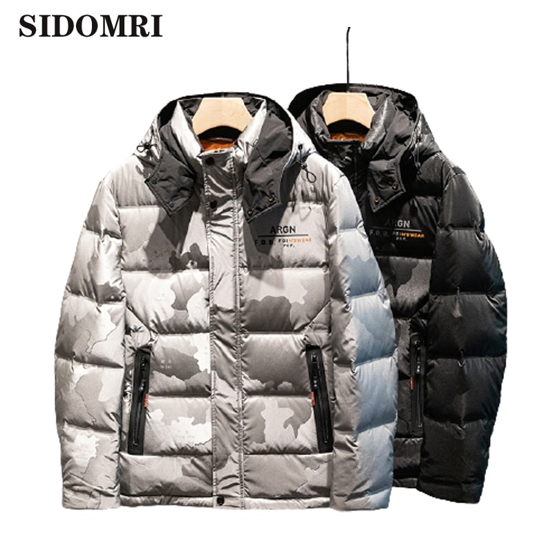 Jakcket men down jacket new collection 90% white duck down hooded monogram printed down jacket short coat for men high quality