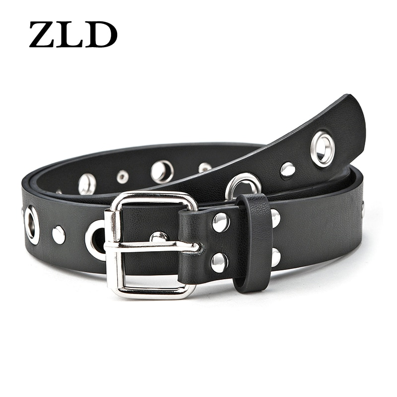 ZLD Ladies classic pin buckle belt Casual Hollow rivet inlay belts fashion jeans Strap luxury brand