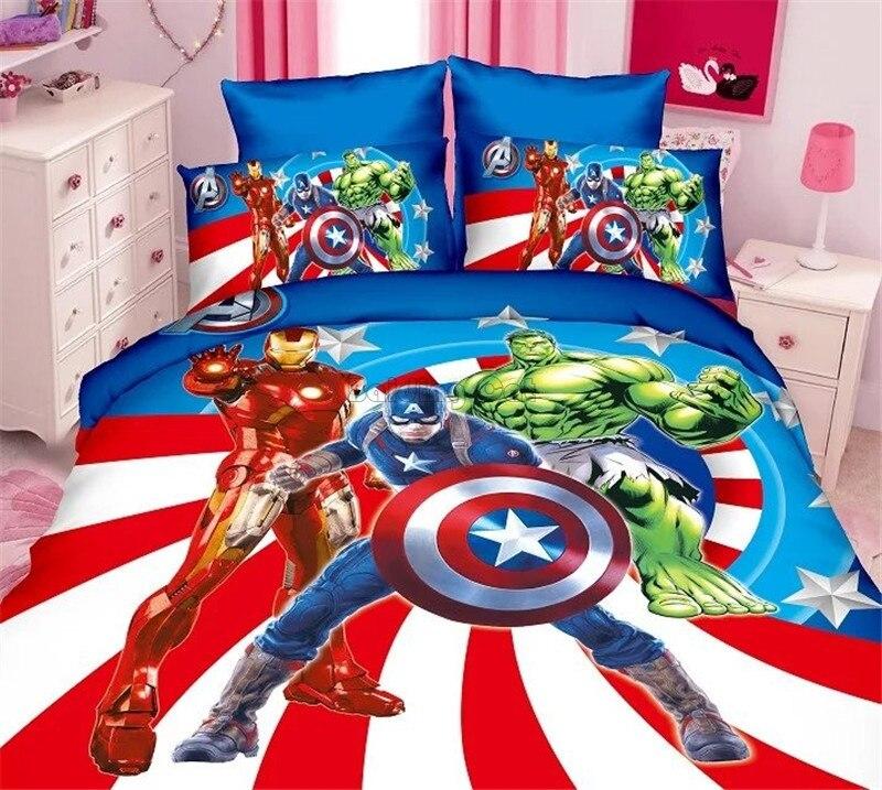 Juegos de cama de dibujos animados de Capitán América en 3D, sábanas de personajes de los Vengadores para niños y niñas, fundas de almohada y edredón, juegos individuales de tamaño doble