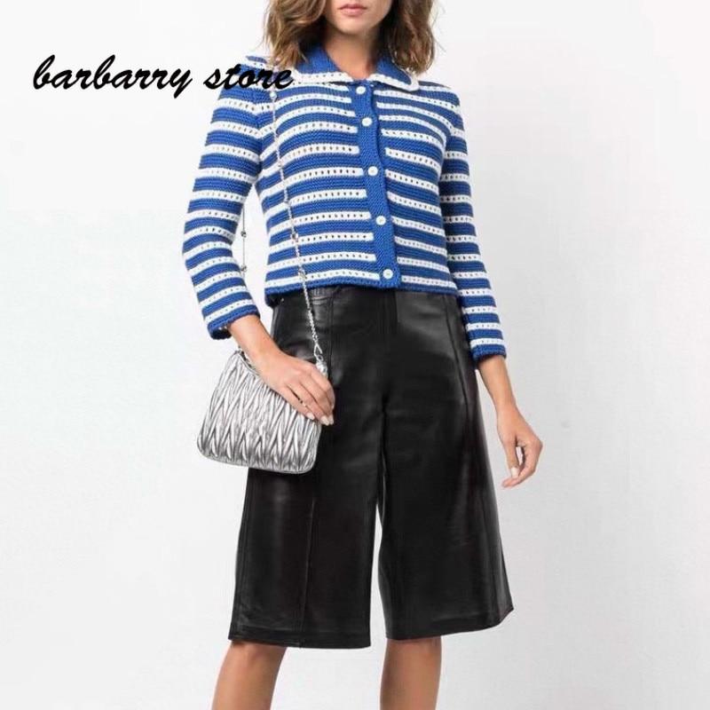 2021 luxury brand stripe contrast printing fashion women's top temperament Lapel versatile age reducing long sleeve cardigan