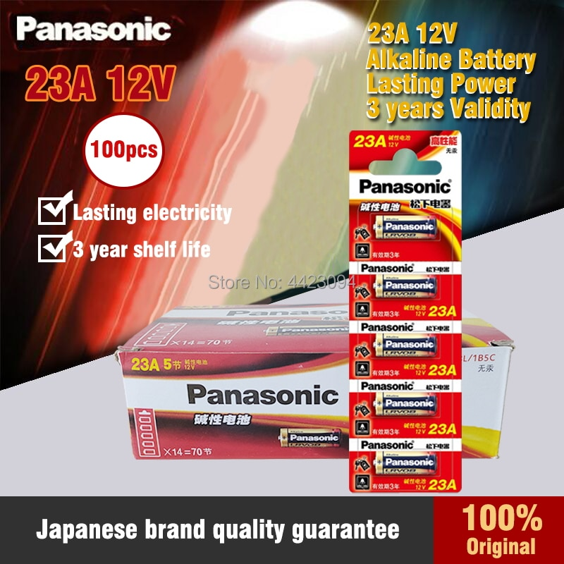 Panasonic 100 шт./лот, батарейки 23A 12 В с будильником, удаленная основная сухая щелочная батарея 21/23 23GA A23, GP23A, RV08, LRV08, E23A, V23GA