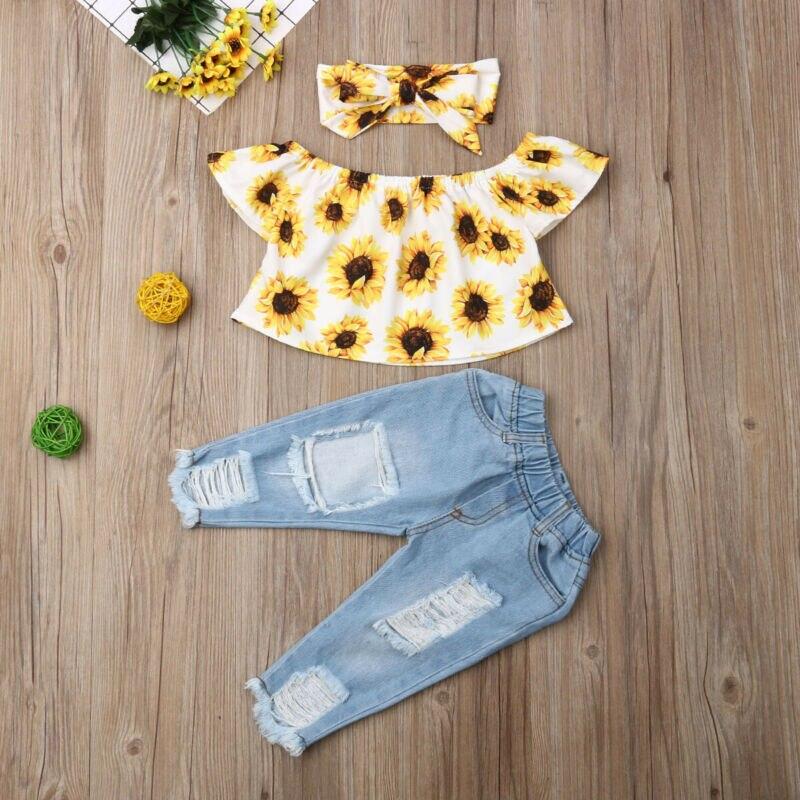 Tops cortos de verano de manga corta con hombros descubiertos para niñas y bebés de Modish + Pantalones vaqueros rasgados + trajes de 3 uds de diadema