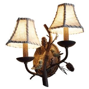 American Country Creative Bird + Pinecone Wall Light Foyer Study Indoor Home Decor Lamp Cafe Inn Bar Restaurant Retro Sconce