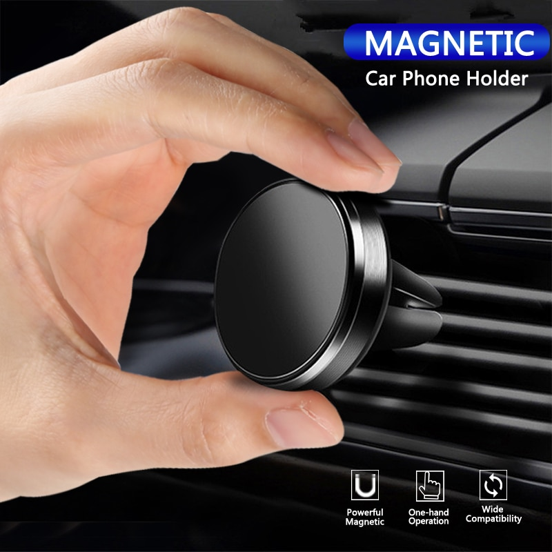 Soporte magnético de teléfono para automóvil para iPhone, Samsung, Huawei, Xiaomi, soporte para panel de ventilación, soporte de teléfono móvil con imán metálico para automóvil