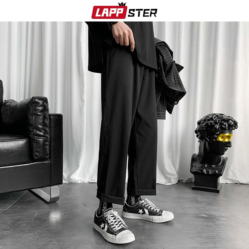 LAPPSTER Mens Black Korean Harem Pants 2020 Japanese Streetwear Joggers Harajuku Sweatpants Hip Hop
