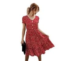 summer boho short sleeve dress women floral print ruffle sundresses elegant high waist evening party beach midi dresses tunic