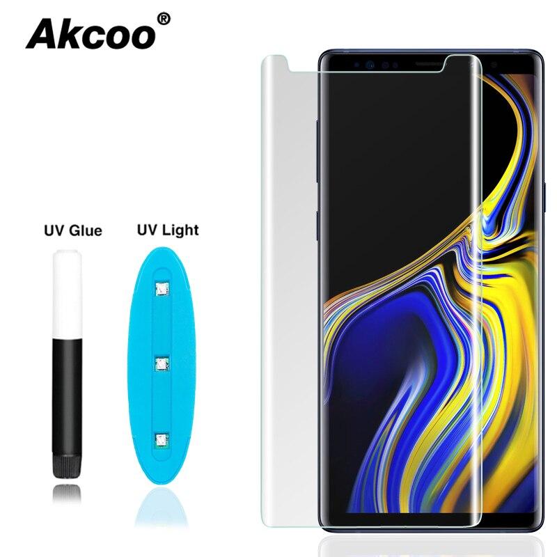 Akcoo Nota 9 protector de pantalla con nano líquido pegamento UV para Samsung Galaxy S8 S9 más S7 S6 borde Nota 8 cristal adhesivo completo protector