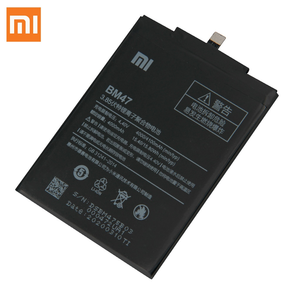 Original Replacement Battery BM47 For Xiaomi Redmi 3 4X 3S 3X Redmi3 Pro Hongmi 3 Redrice 3x Authentic Phone Battery 4000mAh enlarge