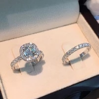 2020 new classic wedding ring set women men white square zircon fashion engagement couple ring jewelry party birthday gift