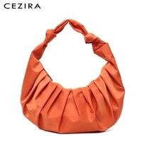 cezira summer pleated handbags for women soft nylon shoulder baguette purses ladies fashion armpit bag female leisure cloud bags