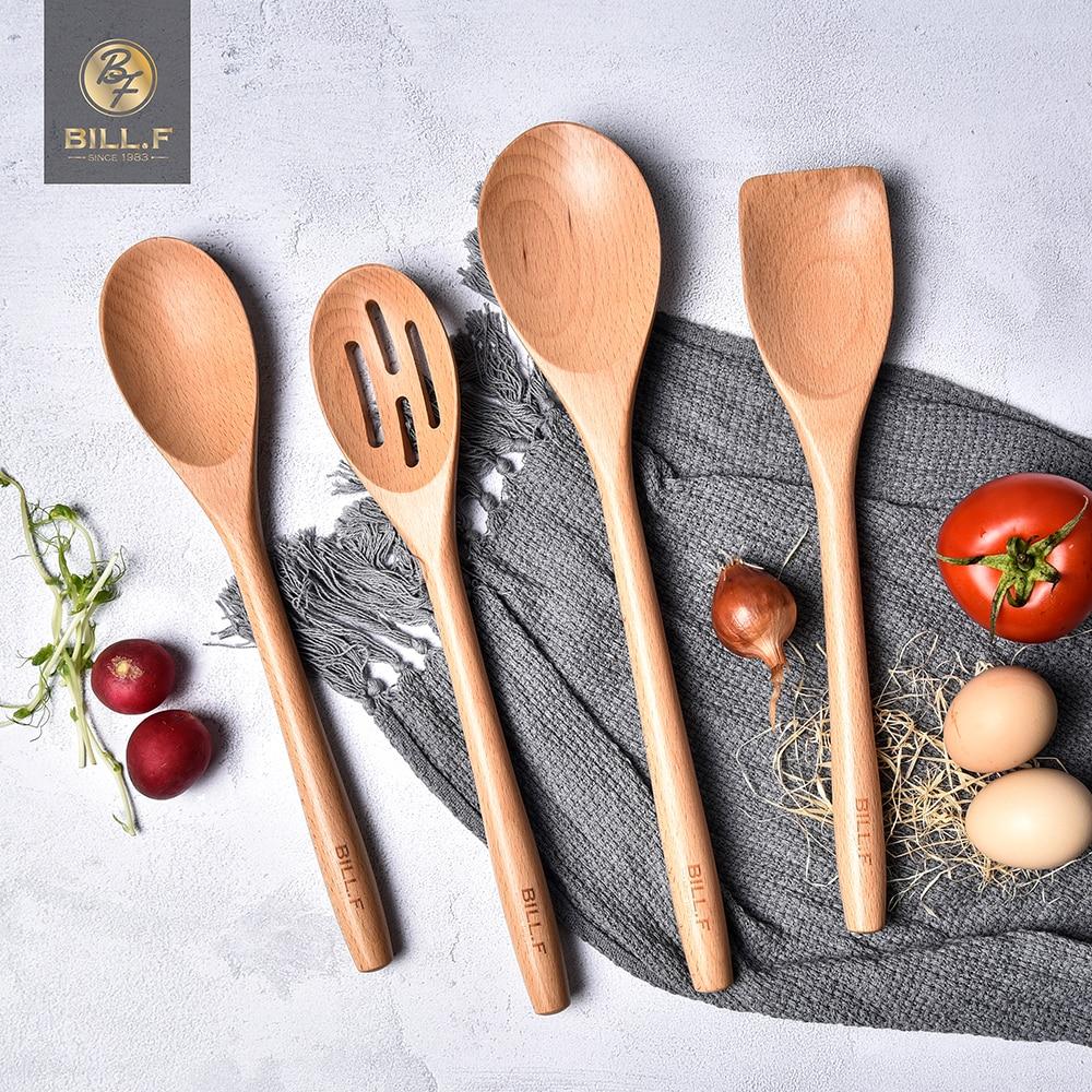 BIL L.F خشب الزان أدوات المائدة ملعقة مغرفة تيرنر طويل الأرز مصفاة شوربة مقشدة الطبخ ملاعق مغرفة طقم أدوات المطبخ