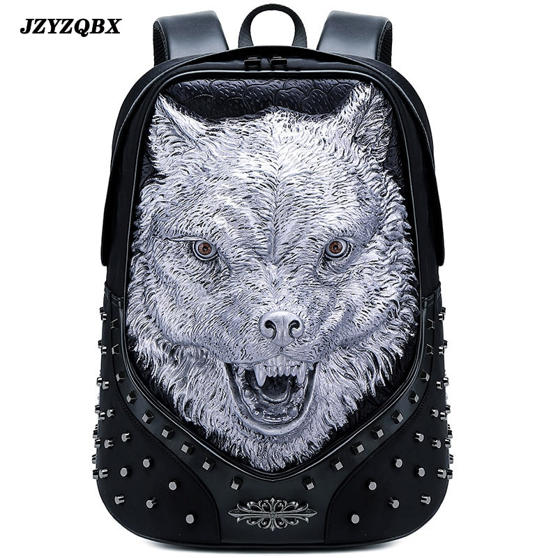 3D Stereoscopic Silicone Wolf Head Backpack Men's Personality Rivets mochila Black Waterproof PU Leather Travel mochilas